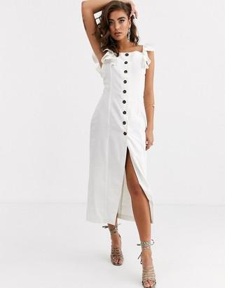 Pretty Lavish button midi dress in white