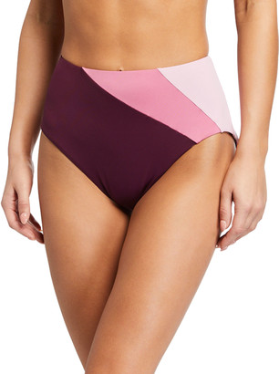 Kate Spade Reversible Colorblock High-Rise Bikini Bottom