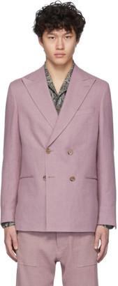 Nanushka Pink Japanese Linen Malvin Blazer