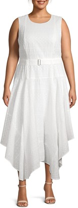 Calvin Klein Collection Plus Belted Eyelet Embroidery Handkerchief Dress