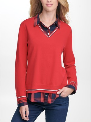 Tommy Hilfiger Essential Plaid Twofer Sweater