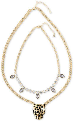 Rachel Roy Gold-Tone 2-Pc. Set Crystal and Leopard Statement Necklaces