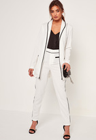 Missguided Piped Detail Jet Pocket Cigarette Trousers White