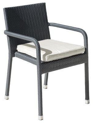 Panama Jack Onyx Stacking Patio Dining Chair with Cushion Outdoor