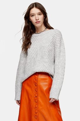 Topshop Grey Marl Mix Chevron Sweater