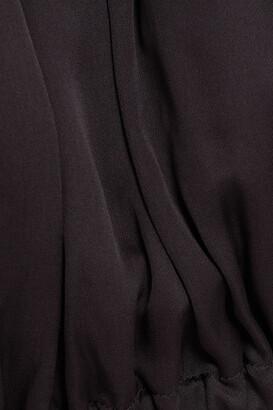 I.D. Sarrieri Off-the-shoulder Cropped Silk-satin Top