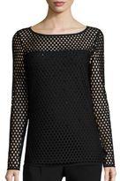 Escada Sparkle Net Overlay Knit Pullover