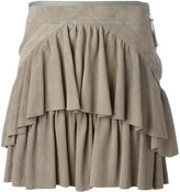 Diesel Black Gold layered mini skirt - women - Viscose/Goat Suede - 40