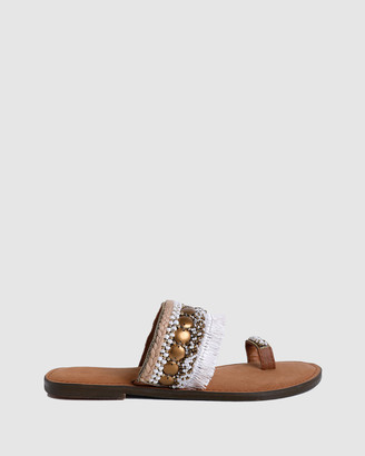 Arms Of Eve - Women's White Flat Sandals - Levana Beaded Sandals - Size One Size, 40 at The Iconic