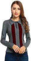 Meaneor Women's V Neck Zipup Top Long Sleeve Polo Shirt S