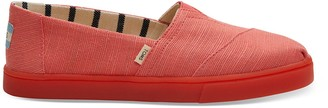 Toms Coral Red Canvas Women's Cupsole Alpargatas