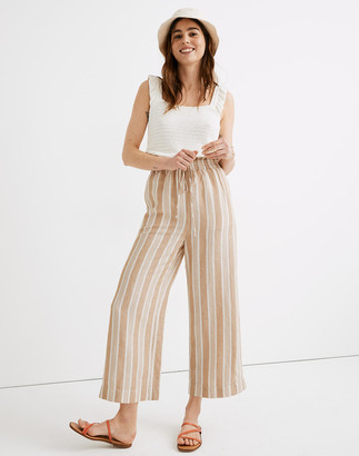 Madewell Petite Smocked Huston Pull-On Crop Pants in Stripe