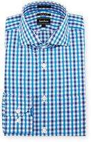 Neiman Marcus Trim-Fit Regular-Finish Plaid-Print Dress Shirt, Blue