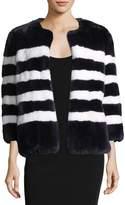 Kule Striped Rabbit Fur Coat