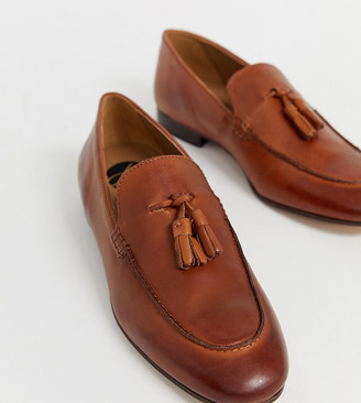 H By Hudson Wide Fit Bolton tassel loafers in brown leather