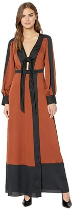 BCBGMAXAZRIA Color Block Long Dress (Deep Bronze) Women's Clothing