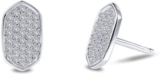 Lafonn Platinum Plated Sterling Silver Simulated Diamond Pave Disc Earrings