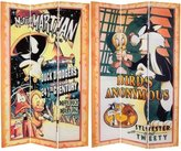 Oriental Furniture 6 ft. Tall Double Sided Tweety and Marvin the Martian Canvas Room Divider