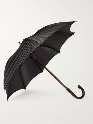 Francesco Maglia Pinstriped Chestnut Wood-Handle Umbrella