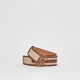 Burberry Monogram Motif Canvas and Leather Belt