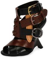 Tom Ford Multi-Strap 110mm Wedge Sandal, Black/Brown