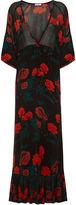 Ganni Black Newman Rose Print Maxi Dress