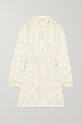 Saint Laurent Ruffled Metallic Striped Silk-blend Mini Dress - Yellow