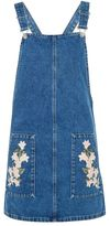 Topshop Moto tulip embroidered pinafore dress