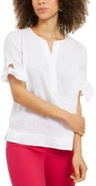 Charter Club Petite Linen Split-Neck Top, Created for Macy's
