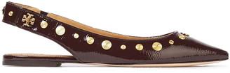 Tory Burch Kira Studded Crinkled Glossed-leather Slingback Point-toe Flats