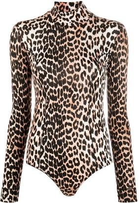 Ganni Leopard-Print Bodysuit