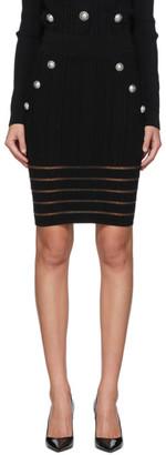 Balmain Black Open Knit Skirt