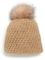 Saks Fifth Avenue Fox Fur Pom-Pom Cap