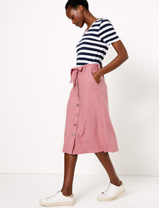 Marks and Spencer Linen Button Front Midi A-Line Skirt