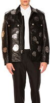 Calvin Klein Embossed Leather Jacket in Black,Floral.