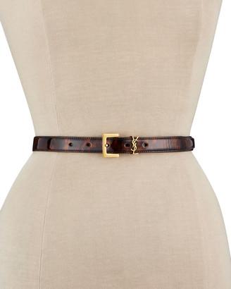 Saint Laurent Tortoiseshell Patent Leather Monogram Belt