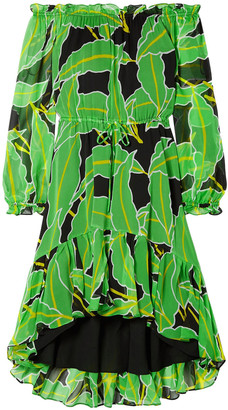 Diane von Furstenberg Camilla Off-the-shoulder Printed Silk-chiffon Dress