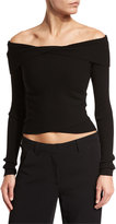 A.L.C. Rayne Cropped Overlap Ribbed Sweater, Black