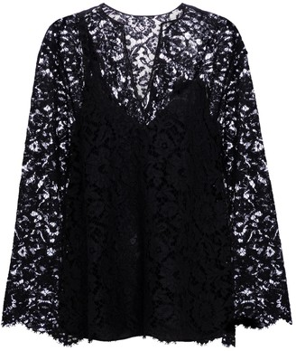 Valentino floral lace blouse