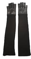Lauren Urstadt Knit Leather Fingerless Gloves