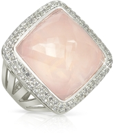 Sho London 18K Gold V-Seal Rose Quartz Victoria Ring