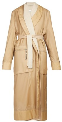 Loewe Layered Single Breasted Nylon And Wool Coat - Womens - Camel