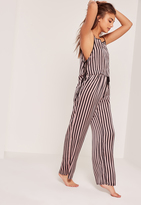 Missguided Pink & Black Striped Tie Side Pajama Set