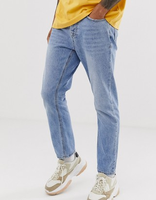Topman tapered jeans in blue wash