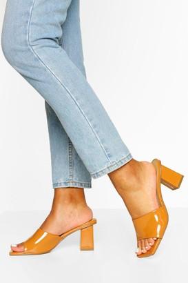 boohoo Square Toe Thong Low Mule Heels