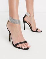 Public Desire Glamorous ankle embellished heeled sandal in black
