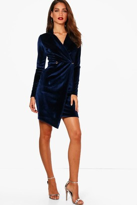 boohoo Tall Holly Velvet Blazer Dress