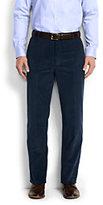 Lands' End Men's Tailored Fit Plain Front 10-wale Corduroy Trousers-Light Beige