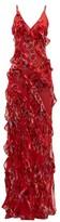 Rat & Boa - Maribou Ruffled Floral-devore Maxi Dress - Womens - Red