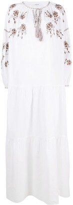 P.A.R.O.S.H. Embroidered Tiered Cotton Dress